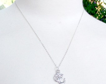 SALE Good luck charm. OM. Sterling silver chain. Small and delicate. Rhodium