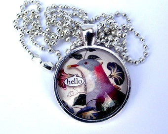 SALE. Hello,Talking bird  Hello pendant necklace. necklace. Silver frame and chain. Greetings phrase