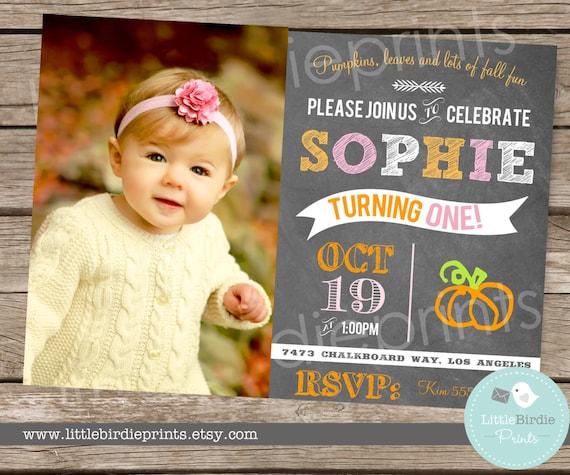 PUMPKIN FIRST BIRTHDAY Chalkboard Invitation By