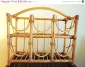 ON SALE Bamboo Wine Rack, Natural Bamboo, Holds 6 Bottles, Vintage - sweetlynetreasures