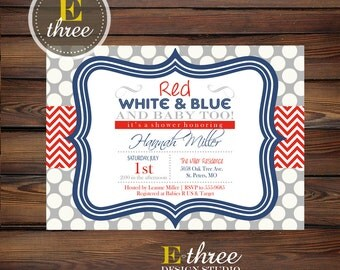 Printable 4th of July Baby Shower Invitation - 4th of July Party Invite, Red, White, Blue - Baby Shower