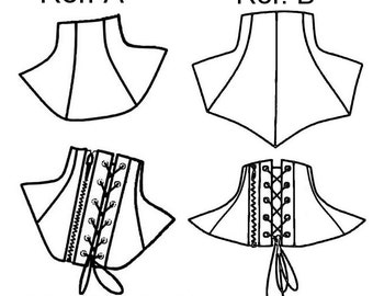 2 Neck collar patterns with back zipper and or back eyelet lacing necktie