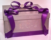 Wedding Gift Card Box with Crystal Brooch, 3 Letter Monogram, centerpiece, wishing well
