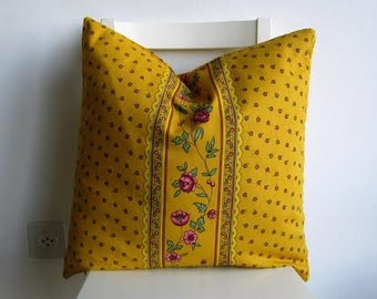 Provence - France Pillow Cover 20 x 20 - Flowers on Yellow Canvas.
