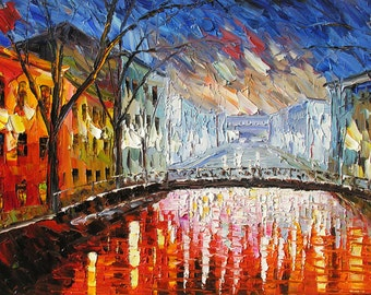 Cityscape Original Oilon canvas Painting Palette Knife Wall Colorful Reflections rain bridge decor Street Rain Modern gift ART by Marchella