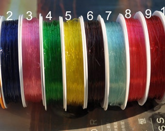 Bead Wire,0.7mm Dia TPU wire, wire supply,transparent wire, 2 spools pick your color,26 feet