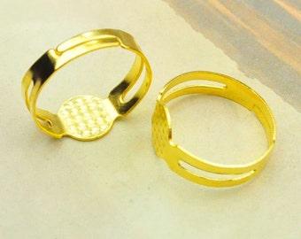 Ring,50pcs Gold metal Adjustable Ring Base with 8mm Round Pad