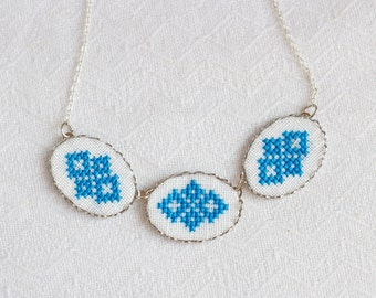 Hand embroidered necklace with three blue ornaments - ethnic embroidery - Ukrainian embroidery - n010blue