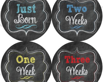 Chalkboard Style Monthly Stickers - Boy Chalkboard Monthly Stickers- Just Born to 3 Weeks - Gender Neutral Stickers Monthly Stickers for Boy
