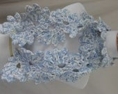 Lacy snowflake scarf blue and white XF