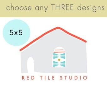 Art Block l Choose (3) THREE of our Custom Designs 5x5 Nursery Decor Nursery Art- customizable personalized nursery and kids room decor