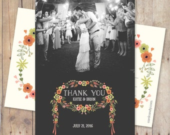 Wedding Thank You Notes - Floral Wreath Two