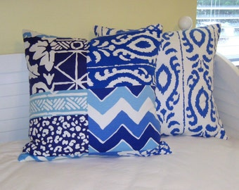 Pair of Stroheim Dana Gibson Parish Patch and  Madagascar Ikat  Designer Pillow Covers