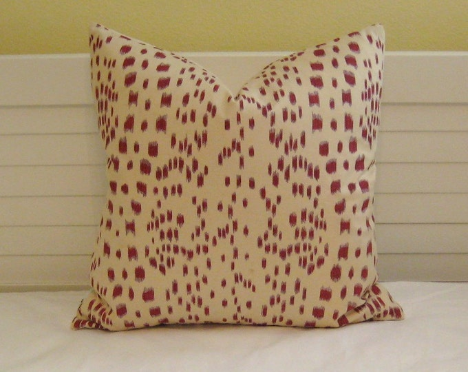Brunschwig and Fils Les Touches in Red Animal Print Designer Pillow Cover - Square, Lumbar, and Euro Designer Pillow Covers