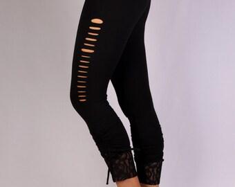Slash Leggings in  Rayon Lycra - Dance wear, Yoga wear, Active wear, Casual wear