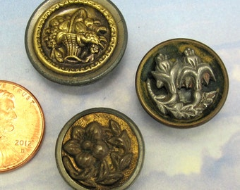 Victorian Buttons Antique Floral 3 Ornate Flower Brass Button 266