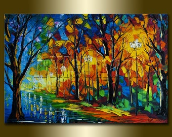 Landscape Painting Oil on Canvas Original Palette Knife Textured Contemporary Modern Art Rainy Night 20X30 by Willson Lau