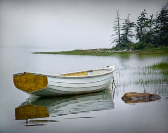 White, Dory, Wooden, Row Boat, Photograph, Print, high tide, Misty Morning, Mount Desert Island, Maine, Seascape, Boat, Fine Art, Wall Decor