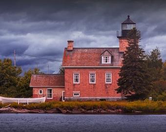 Ontonagon Lighthouse on Lake Superior in the Michigan Upper Peninsula No.0016 -  A Fine Art Seascape Lighthouse Photograph