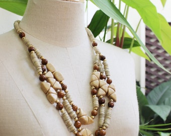 Coconut Shell Beads Necklace - CL1409-09