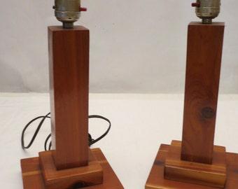 Pair of Vintage Handmade Cherry Wood Table Lamps