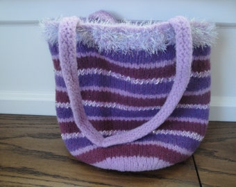 Knit Felted Tote bag with snap closure