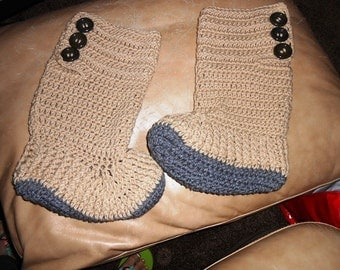 Crochet Hightop Fireside Slipper Boots for Teens and Adults by Kams-store.com