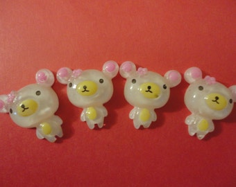 kawaii bear friends cabochons decoden phone deco diy charm  4 pcs--USA seller