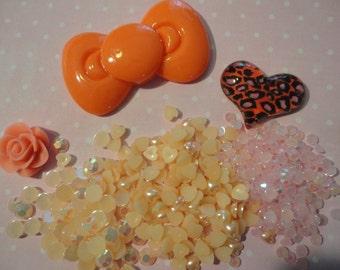 Kawaii decoden phone deco diy cabochon orange bow kit  D 504---USAseller
