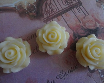 Kawaii cream color rose cabochon decoden diy charm  3 pieces---USA seller