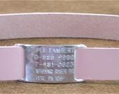 Leather Custom Tag Collar for Greyhounds - Petal Pink