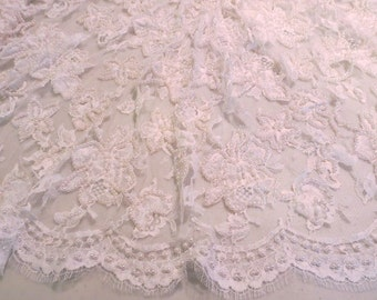 White Floral Design Pearl Embellished French Chantilly Lace Fabric--One Yard