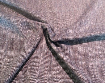 Classic Blue Gray Herringbone Wool Blend Fabric--One Yard