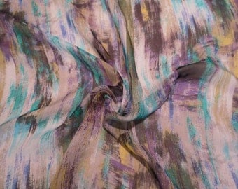 Muted Turquoise Olive and Purple Striated Print Pure Silk Chiffon Fabric--One Yard
