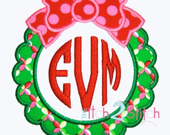 Christmas Wreath Applique (Font Not included) Sizes 4x4, 5x7 and 6x10 For Machine Embroidery INSTANT DOWNLOAD now available