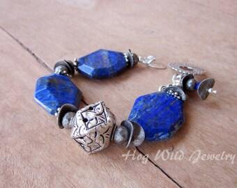 Chunky Lapis Sterling Silver Bracelet, Women's Handcrafted Jewelry, Blue Lapis Bracelet, Women's Artisan Jewelry