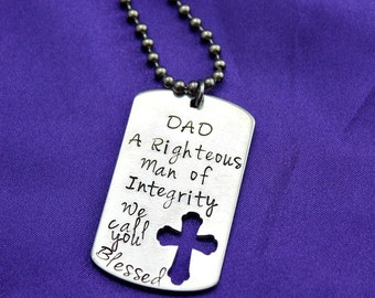 Personalized Dad hand stamped cross cutout dog tag Christian necklace