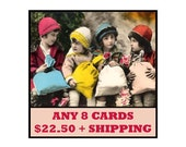 GREETING CARDS - 8 for  USD22.50 plus combined shipping - Vintage and Retro Inspired Cards