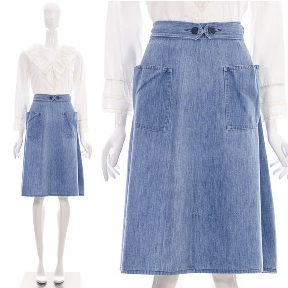 vintage 70s adjustable denim skirt