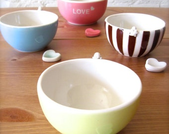 Sale, Baby Yellow Happy Angel Bowl with Heart Cutlery Rest Set