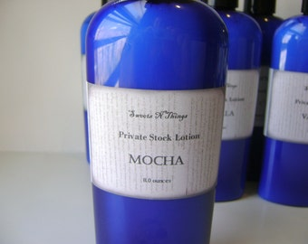 Mocha Private Stock Lotion, 4 or 8 oz. Bottle for Dry Skin, Feet, Elbows, Winter Skin