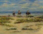 "Beach landscape horses dog original art oil painting on 11"" x 14""  canvas by Sandra Cutrer Fine Art"