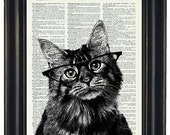 BOGO 1/2 OFF Cat Print Art Upcycled Art Dictionary Page Print Cat with Black Glasses Dictionary Art HHP Original
