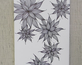 8x10 Abstract Flower ink drawing