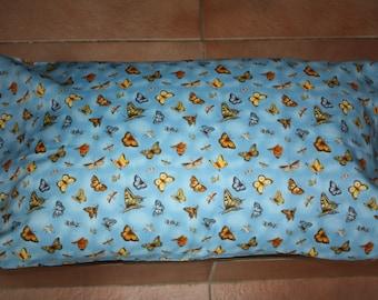 Butterflies, butterfly, pillowcase, standard size, blue, yellow