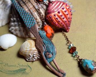 Merpeople Bookmark - copper tone and verdigris - Mermaid and beads