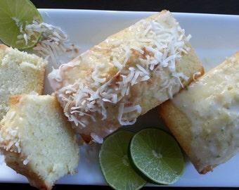 Tropical Lime Coconut Pound Cake Mini Loaves ~ 3 loaves