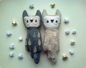 Owls couple, pair of horned  wise owl friends , soft art  toy creature owl bird by  Wassupbrothers ,anniversary wedding gift, made to order