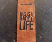 Happy Life Leather Bookmarks Unique Book Lover Gift Graduation Fathers Day