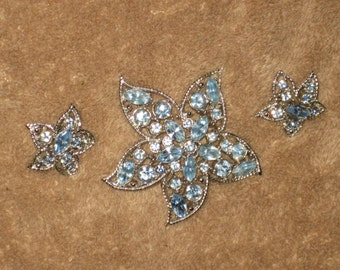 """CLEARANCE Sarah Conventry """"Starfire"""" Brooch and Earring Set, Blue Rhinestones, Mint Condition, Silver, 1967 FREE SHIPPING"""